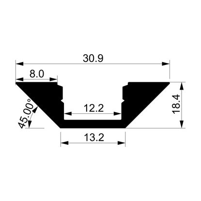 Foto de Perfil en aluminio angular con difusor, 2 metros