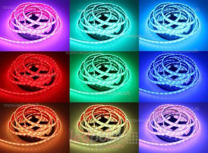 Foto de Tira de led 5m RGB 5050 60led/m Honglitronic 24V 14,4W/m, IP67 silicona sólida transparente