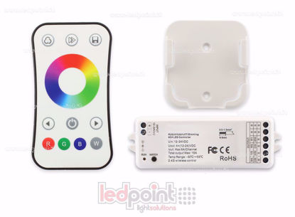 Foto de Kit mando + controlador RGBW 12/24V,  4ch*6A, Max 15A, RF 2.4G